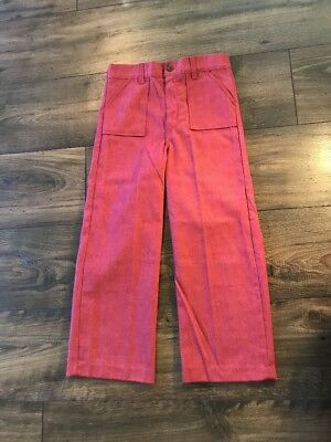 Vintage Childrens Jeans Buster Brown Red Denim Straight Wide Leg Pants 7 EUC