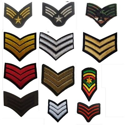 Military Ranks SERGEANT style Embroidered Iron On Sew On Patches Badge Transfers