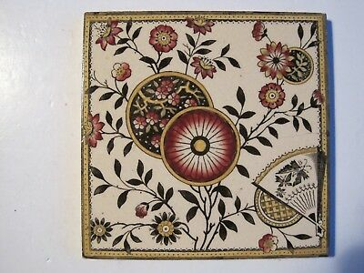 Antique Victorian Japanesque Print And Tint Wall Tile Flowers, Discs, Fan Etc