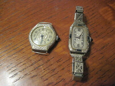 Lot of 2 - Art Deco Women's Bruner & IBEX  Gold Plate Watches for parts/repair