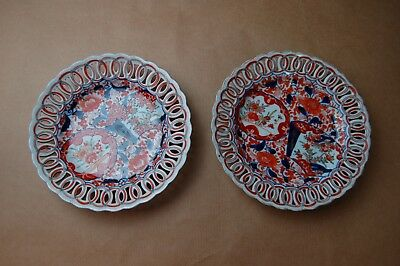 Pair of Oriental reticulated, hand painted antique porcelain plates - Imari