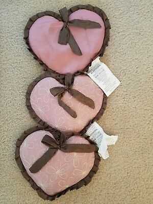 3 Cocalo Daniella Pink Brown Satin Floral Lace Baby Girl Heart Wall Hangers