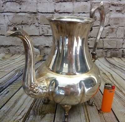 """Vintage Large Silver Plate Ornate 10"""" footed Water Pitcher Sheridan pour spout"""