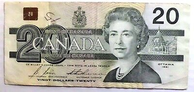 1991 Bank Of Canada 20 Dollar Banknote Queen Elizabeth Canadian Banknote Circ