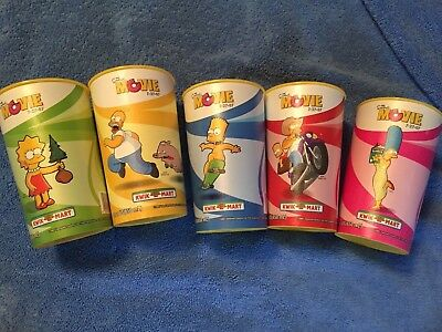 The Simpsons Movie Slurpee 5 Cup Complete Set from 7-11 Eleven Squishy 2007