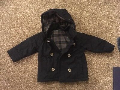 Boys Mothercare Smart Duffle Style Navy Blue Winter Coat 12-18 Months