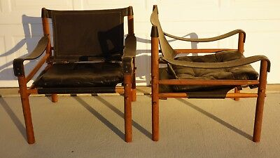 """Authentic Vintage Pair of Arne Norell """"Sirocco"""" black leather Safari Chairs""""USA"""""""