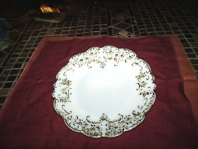 Antique 1900 Dithridge Co Rose Buds White Milk Glass Plate With Gold Border
