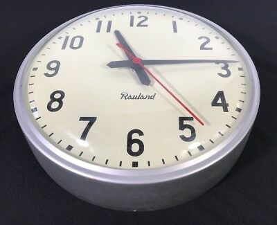 "Vtg Rauland 12"" Industrial Electric School Clock Model 2465 Metal & Glass (#22)"
