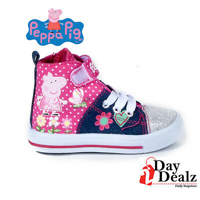 New Peppa Pig Girl's Fabric Upper Glittering Overlays Hi-Top Sneakers Paxt004-Am