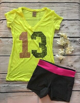 "♡ Well Worn Juniors Sheer Yellow ""13"" Workout Tee Champion Stretch Yoga Shorts S"