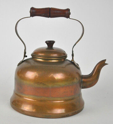 VTG Solid COPPER Kettle Made in PORTUGAL by ODI brass/Wood handle teapot stove