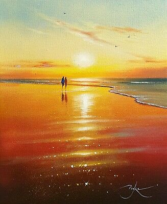 "Original oil painting by BEN PAYNE 12""×10"" beach sunset study on canvas & COA"