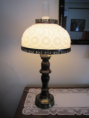 Vintage Tall Hurricane Electric Milk Glass LAMP  / STAR & MOON / Wright / Smith