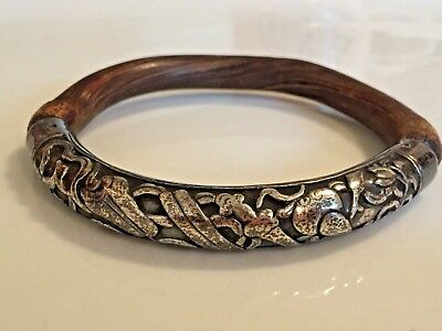 ANTIQUE CHINESE BAMBOO WOOD & SILVER REPOUSSE BANGLE BRACELET -Please SEE!