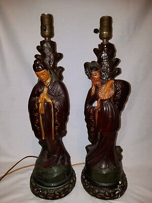 Vintage 1950s Asian Chinese Chalkware Couple Painted Lamps