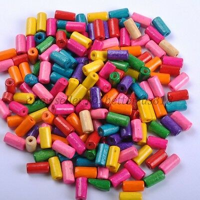 100pcs TUBE SHAPES Mixed Color & Charms WOOD Loose BEADS & 12X6MM