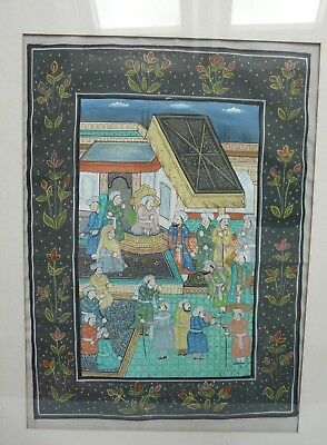 Vintage Indian Persian Mughal Framed Hand Painting on Fabric Silk ? 30 x 22 cm