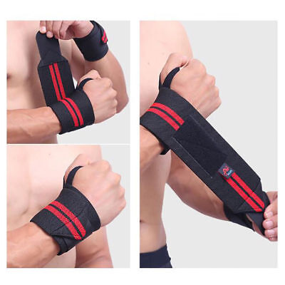 Weight Lifting Wrist Wraps Bandage Hand Support Brace Gym Straps Cotton Black UK