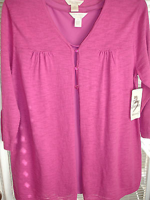 THREE SEASONS MATERNITY 3/4 Sleeve Fuschia Cardigan & Tank 2 Pcs New Sz Medium