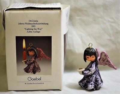 Vintage Goebel DEGRAZIA  ANGEL Christmas Ornament Candle Holder LIGHTING THE WAY