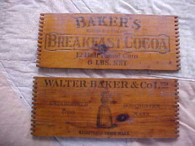 Antique Walter Baker Co. Rustic Remants Wooden Chocolate Box Dovetail Edges Vtg