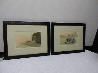 Pair of Andrea Byrne Framed Photos - Old Tractor & Railroad Crossing - Country