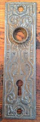Antique Ornate Cast Iron East Lake Victorian Door Knob Back Plate w/ Escutcheon