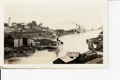 Train Loading Steamer & Tugs in Harbour  PORT BURWELL  Ontario Canada RPPC