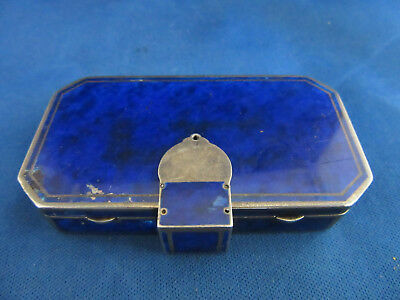 Antique French Auguste Peyroula Sterling Enameled Lapis Compact 1920s
