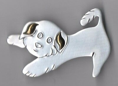 Pewter Puppy Pin ~ Maltese  /bichon ~ Good Condition ~ 2½ Inches