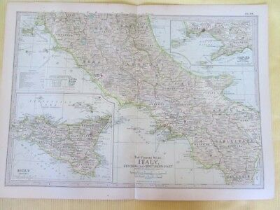 Vintage Map,ITALY,CENTRAL+SOUTH,94,Century Atlas,1902