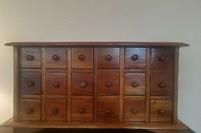 Vintage Apothecary Cabinet Wood 18 Spice Drawer Storage Chest Early