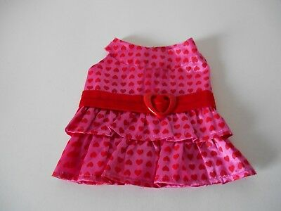 Build A Bear Babw Pink Red Heart Dress Valentine's Day Fits Dog Cat Horse