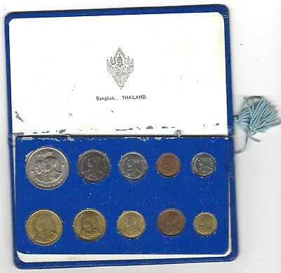 Thailand 10 Piece Set  Baht is dated 1961 all in Original Holder