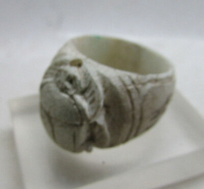 Ancient Egypt Faience Scarab Seal Ring With Heiroglyphs, Middle Kingdom, Rare