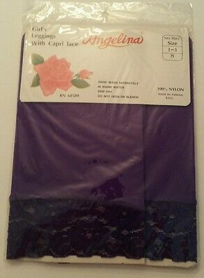 New Girls Angelina PURPLE Leggings with Capri Lace Size 1-3 S