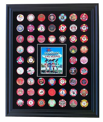 Black Casino Chip Display Frame with Showgirls at Las Vegas Sign Photo for 54...