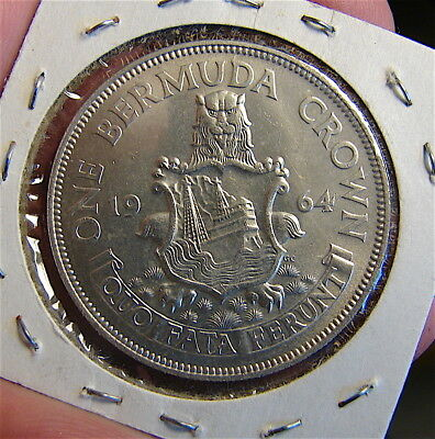 Bermuda Crown,---- 1964 large silver coin-----.Single year mintage