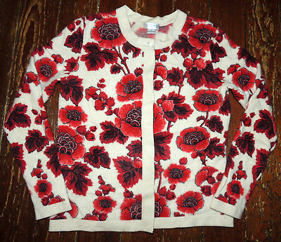 Vintage Old Lady Roses Cashmere Sweater Top Ladies' Cardigan Small