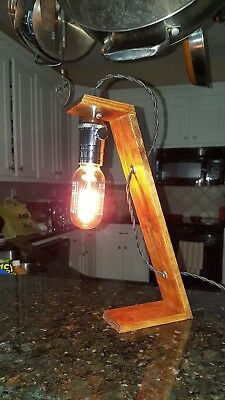 Retro Art Deco Style Edison Arc Lamp Accent w/Bulb Light Walnut Stain