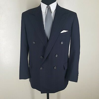Polo Ralph Lauren Vintage U.s.a. Double Breasted Pure Wool Suit Side Vents 46 R
