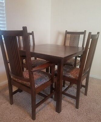 Stickley Mission Oak Arts & Crafts Era Table &  Chairs Dining Set