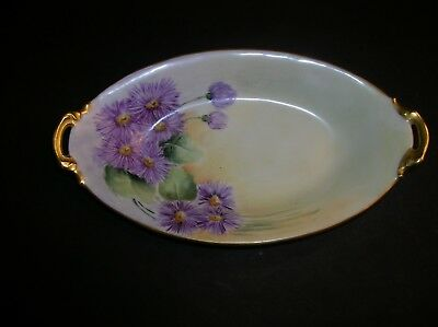 Antique Limoges Nappy Dish Two Handled, Purple Flowers, Gold Trim, Pre 1900 Mark