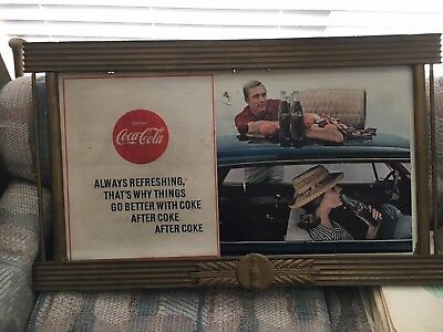 Vintage Horizonal Coca Cola Kay Wood Display Frame 4 Seasonal Cardboard Poster.
