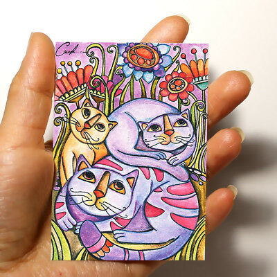"""ORIGINAL FOLK ART PICTURE WATERCOLOR HAND PAINTED ACEO """"Cats"""" signed by artist"""