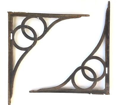"2 Vintage Large Cast Iron Shelf Brackets 15"" x 17"" Industrial Primitive"