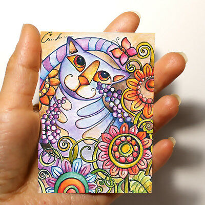 """ORIGINAL FOLK ART PICTURE WATERCOLOR HAND PAINTED ACEO """"Cat"""" signed by artist"""