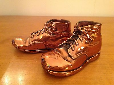 Vintage Pair of Copper Bronze Plated Leather Baby Shoes Mid Century 1950s 1960s