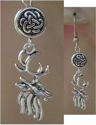 Silver Celtic Stag Charm Drop/Dangle Earrings Handmade Jewelry Hook New Fashion